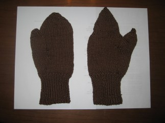 Lobster Claw - all my own. Perfect mitten done under Nanny's close supervision.